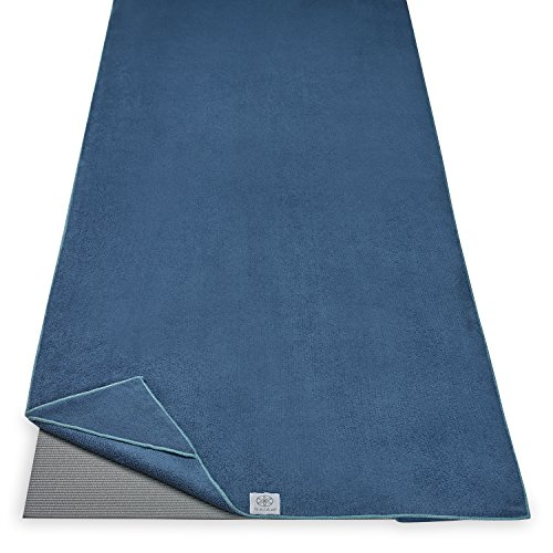 "Gaiam Stay Put Yoga Towel Mat Size Yoga Mat Towel (Fits Over Standard Size Yoga Mat - 68"" L x 24"" W), Lake"