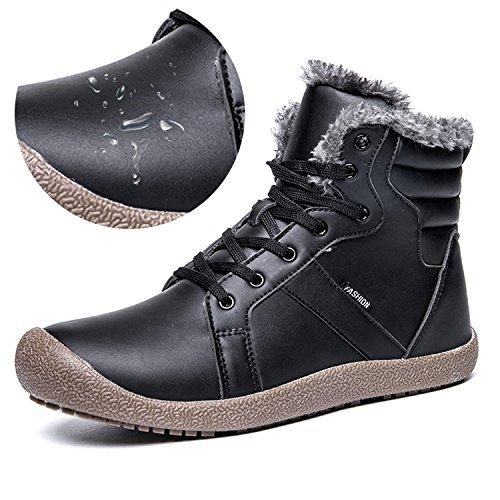 L-RUN Women Snow Boots Fur Lined Winter Ankje Snow Boots Warm Black 6.5 M US