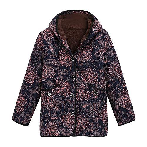 HYIRI ✈ Classic Plus Size Coats Womens Winter Warm Vintage Oversize Outwear Cat Print Hooded Pockets -
