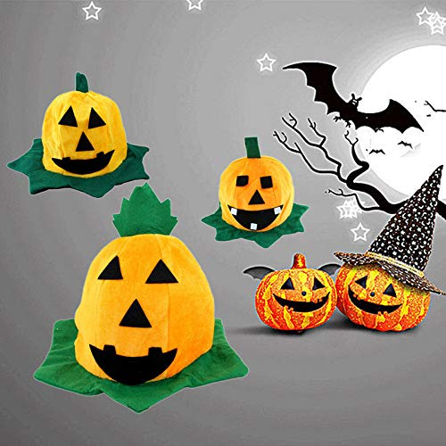 Halloween Hats for Dog, 1Pc(Random) Yellow Pumpkin Motifs Lint Top Cosplay Hat for All Saints Day Dress Magic Decoration