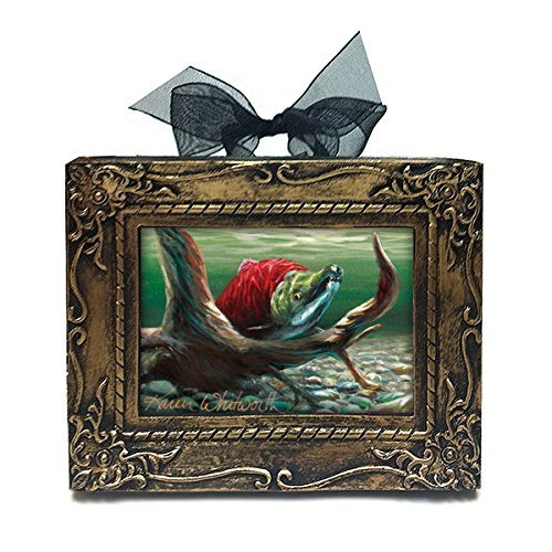 Handmade Antique Style Mini Framed Ol' Snaggle Tooth Sockeye Salmon Alaskan Ornament By Karen Whitworth