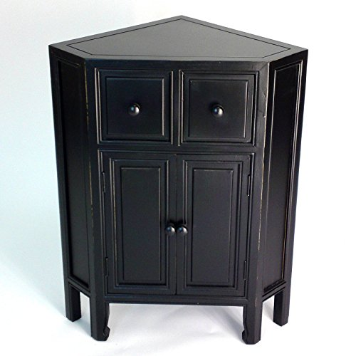 Wooden Corner Chest Cabinet With 2 Drawers And Double Door Storage Space, Organizer, Space Saving Design, Suitable For Bedroom, Bathroom, Indoor Furniture, Black Color + Expert (Antique Pine Corner Cabinet)