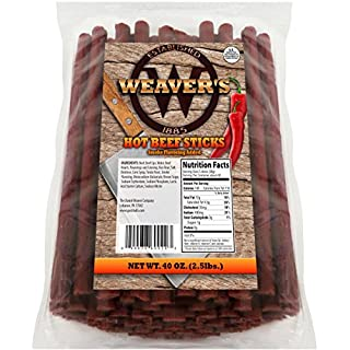"Weaver's Hot Beef Sticks (80 hot and spicy 6.5"" beef sticks per 40oz bag)"
