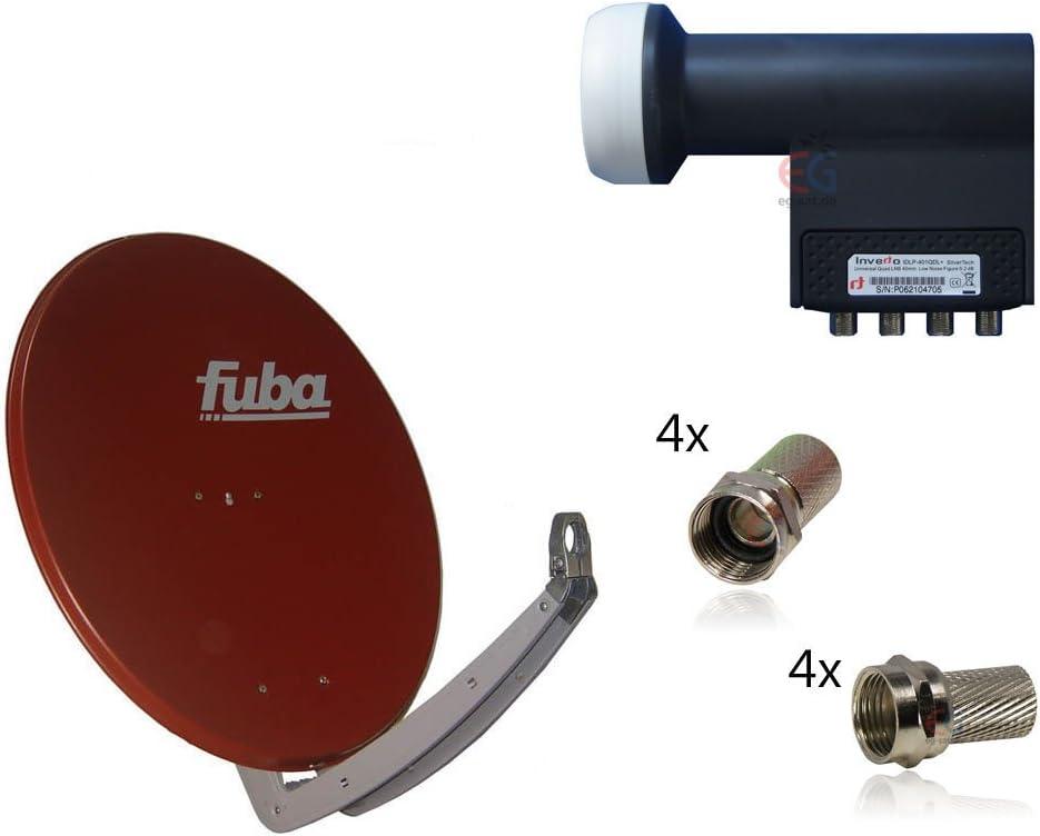 – Antena parabólica y para 4 participantes FUBA DAA 850, ladrillo rojo, Inverto LNB