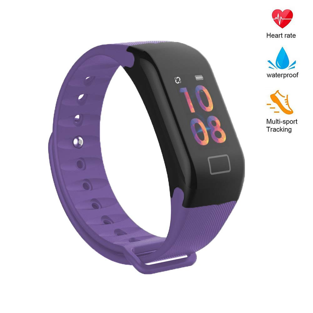 Blood Pressure Monitor Watch,Color Screen Fitness Tracker with Heart Rate Blood Oxygen Monitor,Smart Wristband with Calorie Counter Watch Pedometer Sleep Monitor Light Purple