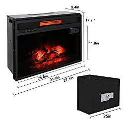 """ROVSUN 26"""" Recessed Electric Fireplace Insert W/Remote Control Timer,5200BTU Quartz Space Heater & FireBox,4 Adjustable Flame Brightness Level,Two Side Wall Tiles Logs,CSA Listed(Black) by ROVSUN"""