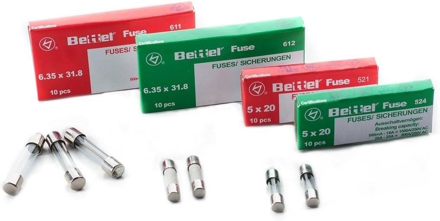 10er P/äckchen Sicherungen 1,6A tr/äge 6,3x32mm