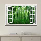 "good looking bamboo wall mural Canvas Prints Wall Art - Modern White Window Looking Out Into a Green Bamboo Forest - Canvas Art Home Decor - 16"" x 24"" inches"