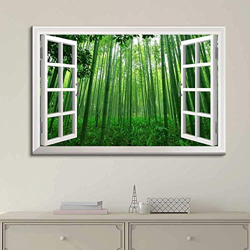 "Canvas Prints Wall Art - Modern White Window Looking Out Into a Green Bamboo Forest - Canvas Art Home Decor - 16"" x 24"" inches"