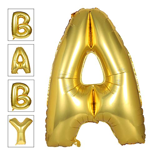 Lovne 40 Inch Gold Alphabet A Balloon Giant Balloons Helium Foil Mylar Huge Letter Balloons A to Z for Birthday Party -