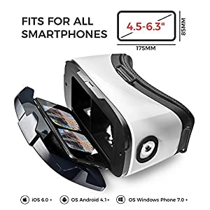 "VR Headset - Virtual Reality Goggles by VR WEAR 3D VR Glasses for iPhone 6/7/8/Plus/X & Samsung S6/S7/S8/Note and other Android Smartphones with 4.5-6.3"" Screens + 2 Stickers"