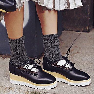Heart&M Mujer Zapatos PU Primavera Otoño Confort Oxfords Tacón Cuña Dedo cuadrada Con Cordón Para Dorado Negro black