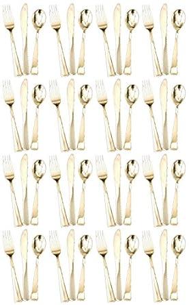 48 Cubiertos de plástico desechable, cubertería compuesta por 16 tenedores, 16 cuchillos y 16 cucharas en color dorado con acabado metálico brillante: ...