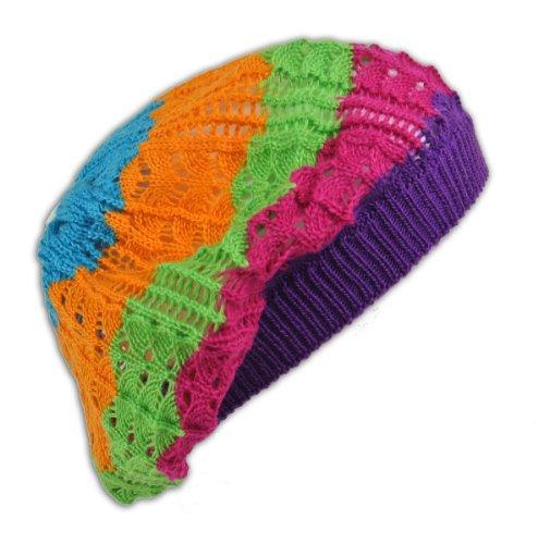 3ac8a505f64 Womens Fashion Crochet Beanie Hat Knit Beret Skull Cap Tam (Tur Org Lime