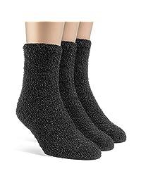 Frad Rivka Women's Warm Quarter Fuzzy Socks - 3 Pairs, Small, Grey