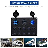 Glumes 4 in 1 Multifunction Car Charge, Circular Light Switch + Cigarette Lighter Seat + Dual USB+ Voltmeter Panel Display Car Voltage For Use Of Ships, Yachts, Rv And Buses. (black)