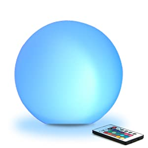 """8"""" Ultra-fun LED Glowing Ball Light (w/Remote), 16 RGB Color Changing/Brighten/Dim, 4 Lighting Effects/Speed+/-, IP65 Waterproof, Rechargeable & AC Adapter PowerSTUNNING LIGHT SHOW"""