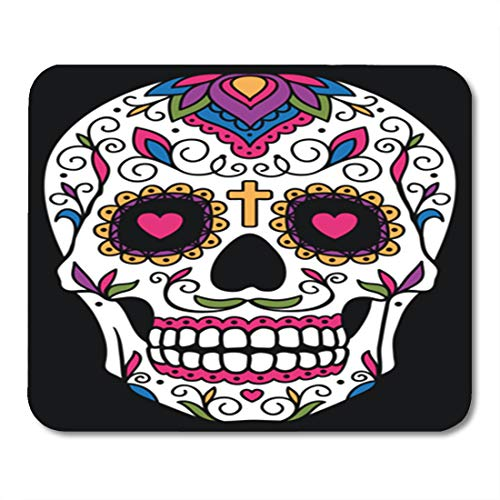 Semtomn Gaming Mouse Pad Red Day Mexican Sugar Skull Yellow Dead Floral Halloween 9.5