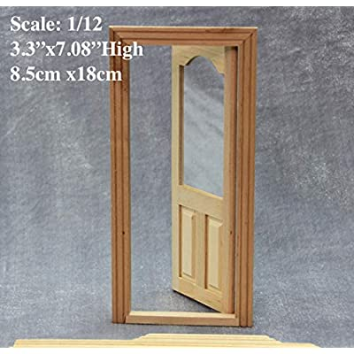 DIY 1:12 Scale Dollhouse Miniatures Wood Glass Panel Door Doll House Front Door; 8.5x18cm High: Toys & Games [5Bkhe0302484]