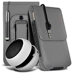 Nokia Lumia 810 protección pu estuche de cuero de la correa de la pistolera del tirón del sostenedor de la cubierta del caso, Retractable Stylus Pen & Mini recargable portátil de 3,5 mm Cápsula Viajes Bass Speaker Jack Grey por Spyrox