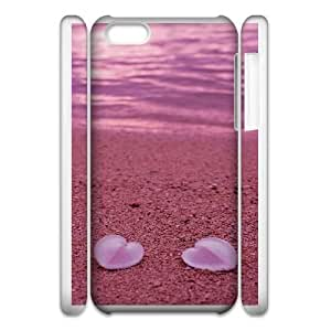 Durable Phone Case 3D iphone5c 3D Cell Phone Case White Vyjxj Beach heart Plastic Durable Cover