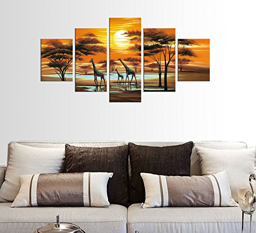 Large Canvas Art Prints Sunset African Landscape Wall Art Decor Modern Artwork 5 Pieces Giraffe Abstract Paintings Contemporary Pictures Framed Ready to Hang for Home Decoration
