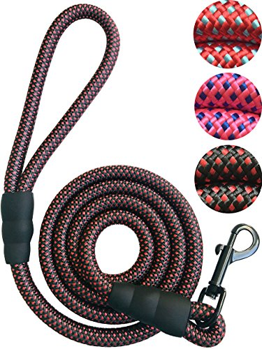 PetsCare Dog Leash Pet Rope Leash, Thick Durable Nylon Rope - Soft Handle and Light Weight Training Leash for Cats and Small, Medium, Large Dogs, Black