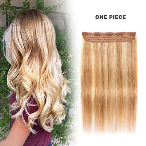 Winsky Clip in Real Hair Extensions Human Hair 5clips 50g – One Piece Soft Straight 3/4 Full Head Hair Pieces for Women (14inch, Ash Blonde to Bleach Blonde #18-613 Color) by Winsky