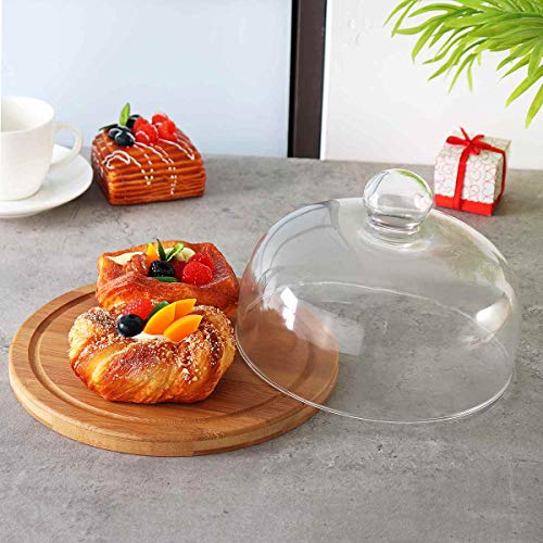 - Glass Cake Dessert Dome Cover With Bamboo Base Kitchen Storage Holder Container Birthday Wedding Party Easter Accessories 21cm Katoot