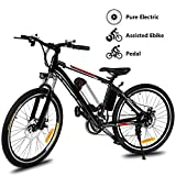 Yiilove Electric Bicycle 26'' Electric Mountain Bike for Adult with 36V Lithium-Ion Battery Ebike 250W Powerful Motor, Shimano 21 Speed
