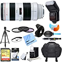 Canon (2569A004) EF 70-200mm F/2.8L USM Lens Ultimate Accessory Bundle includes Lens, 64GB Extreme SD Memory Card, Flash, Flash Cover, Tripod, 77mm Filter Kit, Lens Hood, Bag, Cleaning Kit and More