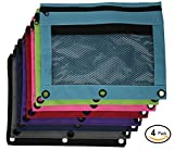 Emraw Double Pocket Zipper Pencil Pouch with 3-Ring Grommet Holes & Quick View Mesh Pocket - Random Colors Picked From: Black, Dark Green, Red, Navy, Gray, Turquoise, Purple, Lime Green, Pink (4-Pack)