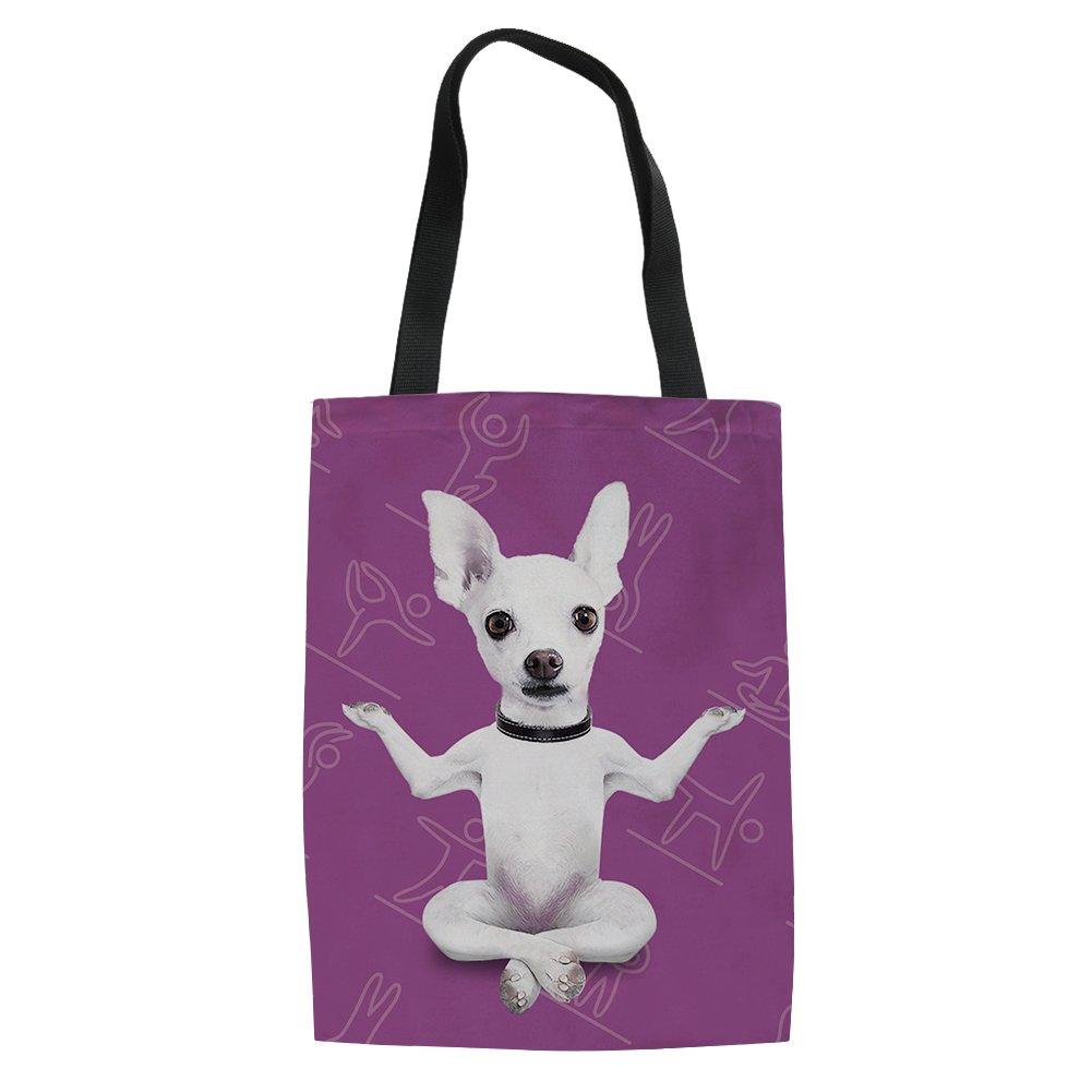 UNICEU Fuuny Yoga Dogs Print Canvas Tote Shoulder Shopping Bags