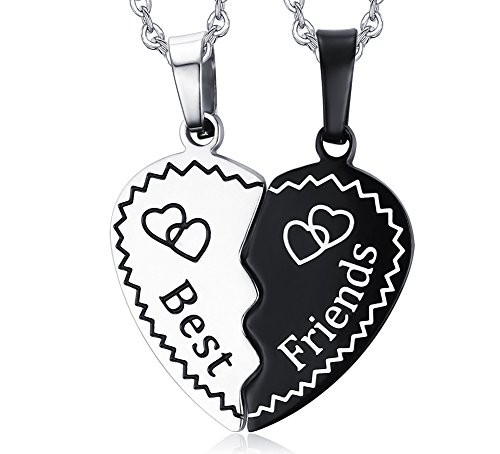 Stainless Steel Half Broken Heart Two-pieces Best Friend Friendship Pendant Necklace for 2, Silver Color