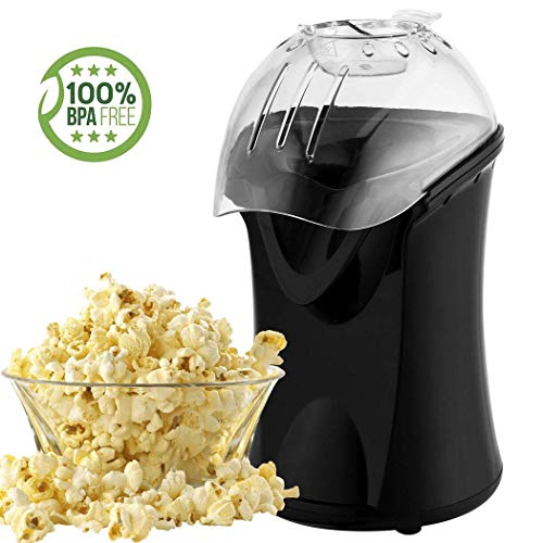 Popcorn Maker, Popcorn Machine, 1200W Hot Air Popcorn Popper Healthy Machine No Oil Needed (Black)