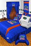 Florida Gators NCAA 8 Pc FULL Size Comforter Set and One Matching Window Valance/Drape Set [84 Inch Drapes] (Comforter, 1 Flat Sheet, 1 Fitted Sheet, 2 Pillow Cases, 2 Shams, 1 Bedskirt, 1 Matching Window Valance/Drape Set - 84'' Length Drapes) SAVE BIG ON