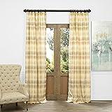 Cheap HPD HALF PRICE DRAPES JQCH-AS222551-84 Horizontal Stripe Faux Silk Jacquard Curtain, Surge Gold Ivory, 50″ x 84″