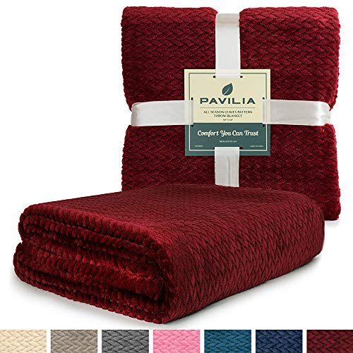 (PAVILIA Luxury Soft Plush Wine Red Throw Blanket for Sofa, Couch | Silky Velvet Fleece Chevron Pattern Throw | Cozy Lightweight Microfiber, Reversible Burgundy Blanket | All Season | 50 x 60 Inches)