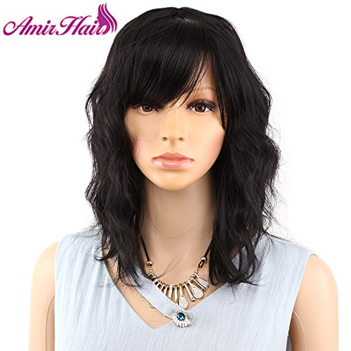 Bob Curly Wig Synthetic Short Black Wig with Bangs Brown Wavy Natural Looking Shoulder Length with layers Fringe Daily Use Fiber Hair for Women - Bangs Synthetic Wig Layers