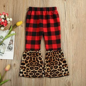 Marxways Toddler Baby Girls Leopard Print Pants Trousers Casual Clothes Patchwork Flared Trousers (Red – 120)