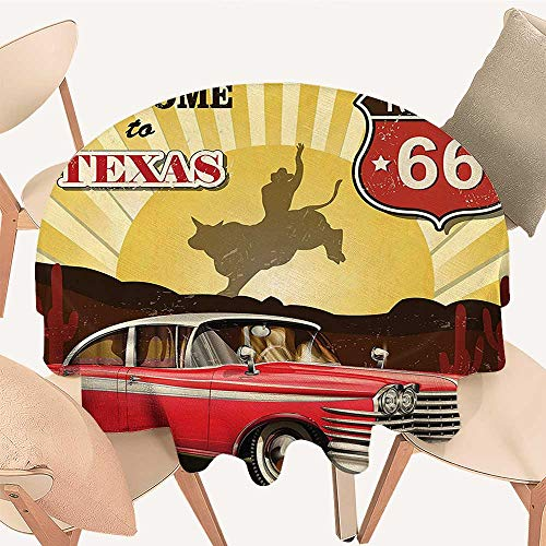 (Dragonhome Circular Table Cover Welcome to Texas Signboard Poster with Cadillac Art Car Cowboys Town Rodeo Decor for Wedding Banquet, 43 INCH Round)