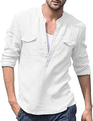 Camisa Casual Henley De Festiva Manga para Hombres Ropa Larga Camisetas Sin Cuello De Ajuste Regular con Botones Lino De Algodón Blusas Retro De Verano Sólido Camisa Casual De Blusa para Hombre: