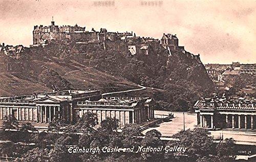 Scotland, UK Old Vintage Antique Post Card Edinburgh Castle and National Gallery Unused
