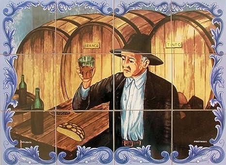 Azul decor piastrelle murale dipinto su smalto faenza