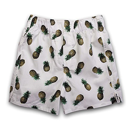 (DRUTHERS The Perfect Boys Pineapple Print Boxer Shorts/Organic Cotton Boxers/Made in USA Underwear/Fun Prints (White Pineapple, Size Medium (4-5))