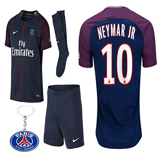 Jersey Kit (PSG Paris Saint Germaine Kid Youth Neymar Jr 2017 2018 17 18 Soccer Home Jersey Kit : Jersey, Short, and Socks(Kid Size 28 (11-12 Years Old) ))