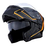 1Storm Motorcycle Modular Full Face Helmet Flip up Dual Visor Sun Shield: HB89 Arrow Orange