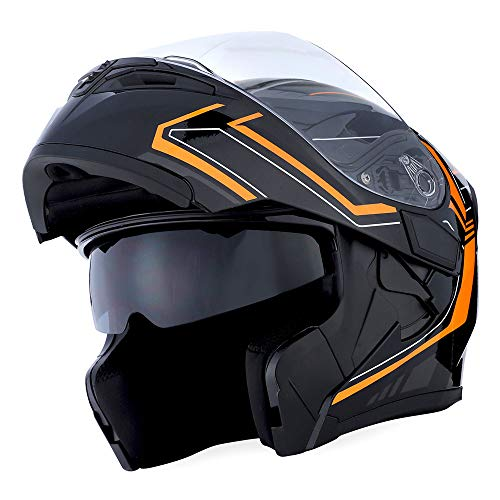 1Storm Motorcycle Modular Full Face Helmet Flip up Dual Visor Sun Shield: HB89 Arrow Orange