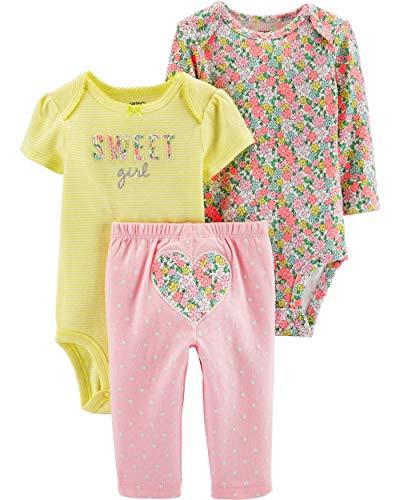 Carter's Baby Girls' 3 Piece Little Character Set (Yellow/Pink Floral, Newborn)