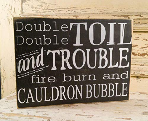 Emily Double Double Toil and Trouble Halloween Witch Decor Witchs Spell Seasonal Witchcraft Pagan Decorative Plaque Fall Decor Quote Decorative Sign Home Wooden Sign Plaque]()